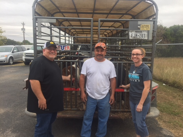 Kyle, Alvaro, and Kristi with David Jackson's Cows